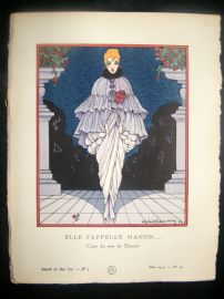 Gazette du Bon Ton by Dammy 1914 Art Deco Pochoir. Elle S'Appelle Manon